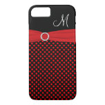 Monogram Red Black White Polka Dots iPhone 7 Case