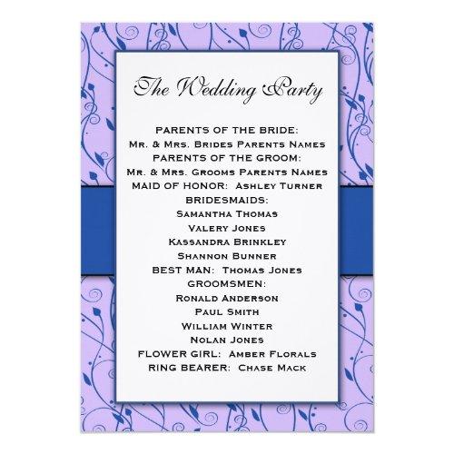 Monogram Royal Blue Lilac Swirl Wedding Program