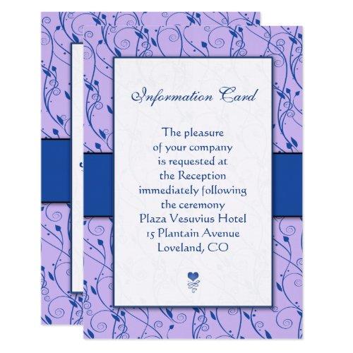 Monogram Royal Blue Lilac Wedding Enclosure Cards