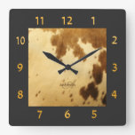 Monogram Rustic Chic Brown Beige Cowhide Fur Print Square Wall Clock