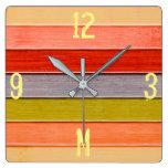 Monogram Series: Rainbow Colored Wood Panel. Square Wall Clock