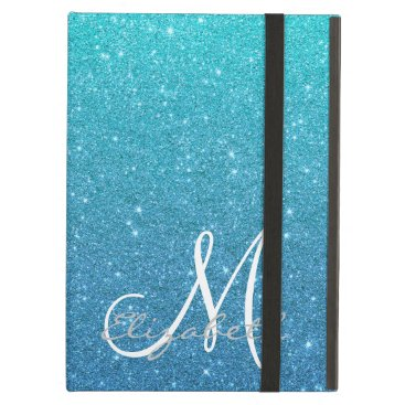 Monogram Turquoise  Blue Trendy Ombre Glitter Case For iPad Air
