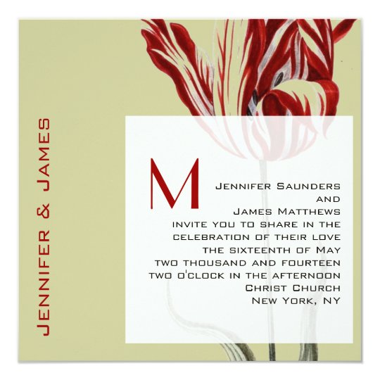 Monogram Wedding Invitations Modern Tulip