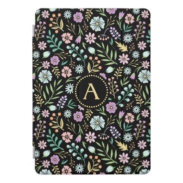 "Monogram Whimsical Flowers Black 10.5"" iPad Pro iPad Pro Cover"