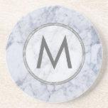 Monogram White And Gray Marble Stone Texture Sandstone Coaster