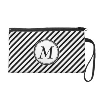 Monogram with Stripes Wristlet