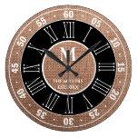 Monogrammed Burlap Rustic Roman Numeral Large Clock
