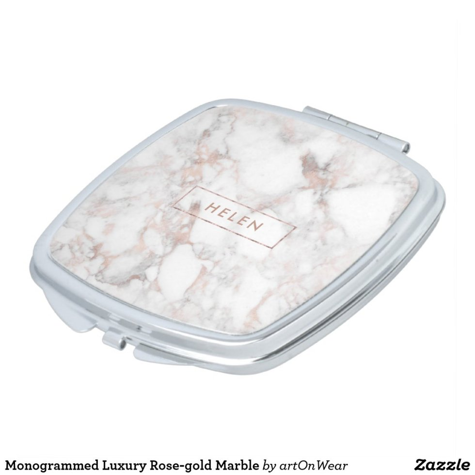 Monogrammed Luxury Rose-gold Marble Compact Mirror
