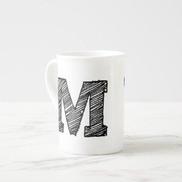 """Monogrammed Mug: Letter """"M"""" Tea Cup"""
