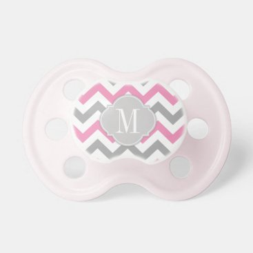 Monogrammed Pink and Gray Chevron Pacifier