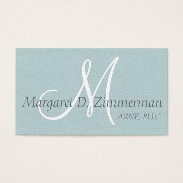 Monogrammed Professional, Light Blue Linen Business Card