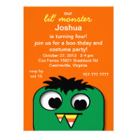 Monster Kids Halloween Birthday Party Invitations