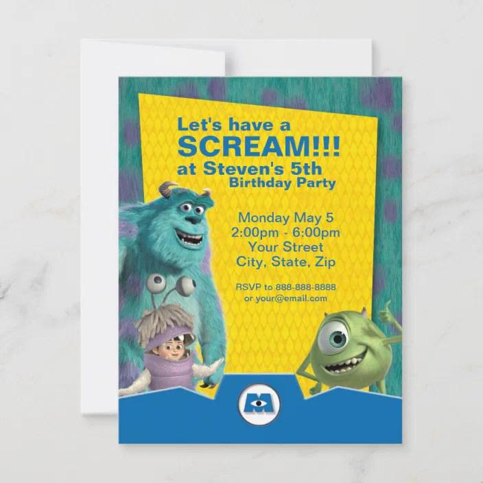 Monsters Inc Birthday Invitation Zazzle Com