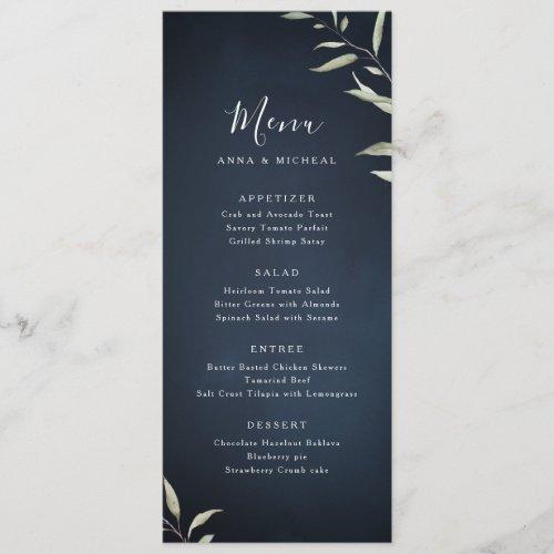 moody navy watercolor botanical greenery wedding menu