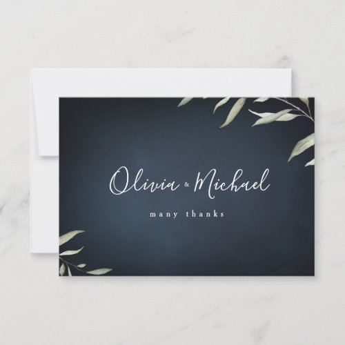 Moody navy watercolor botanical greenery wedding thank you card