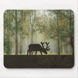 Moose in Forest Illustration Mouse Pad