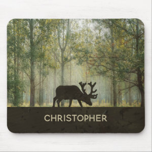 Moose in Forest Illustration Personalized Mouse Pad