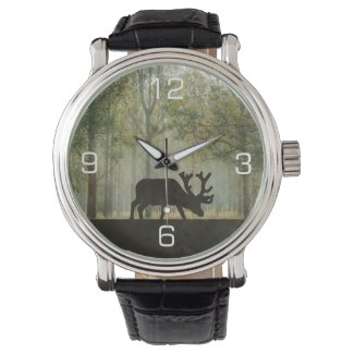 Moose in Forest Illustration Wrist Watch