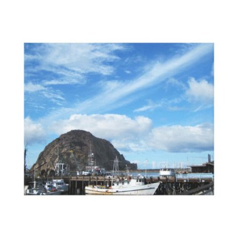 Morro Rock, Fishing Boats and the Embarcadero Canvas Print
