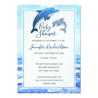 Mother and Baby Dolphin Ocean Baby Shower Card