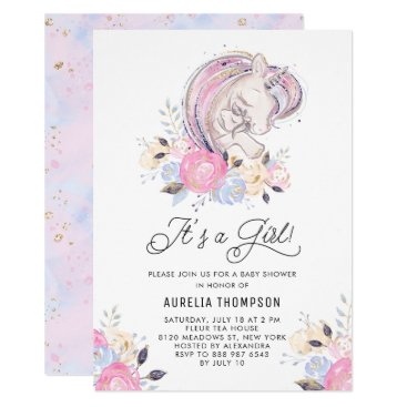 Mother and Baby Unicorn It's a Girl Baby Shower Invitation