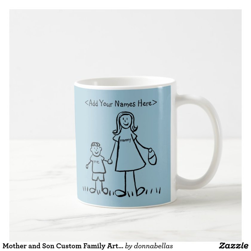 Mother and Son Custom Family Art Coffee Mug