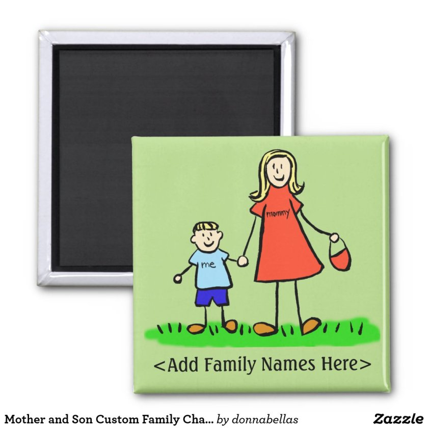 Mother and Son Custom Family Character Art Magnet