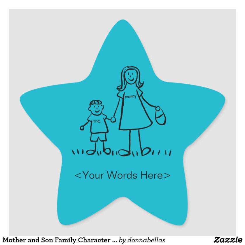 Mother and Son Family Character Custom Mom Sticker