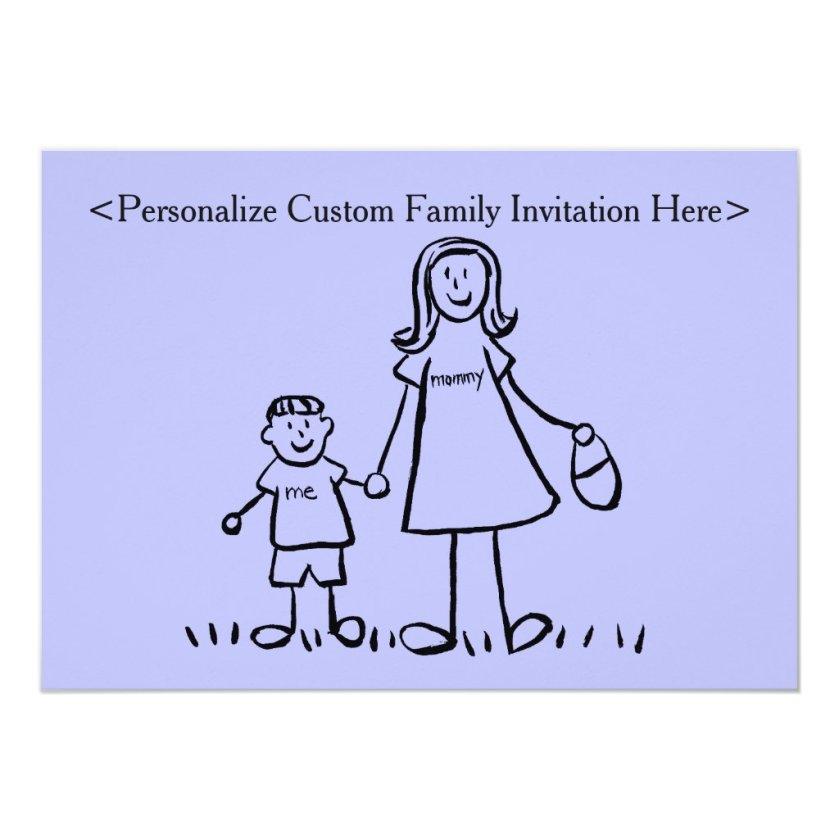 Mother & Son Custom Family Characters Invitation