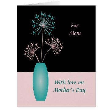 Mothers Day custom text flowers for mom modern Card