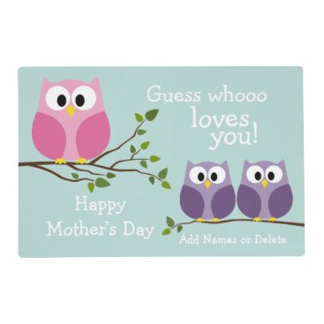 Mothers Day - Cute Owls Placemat