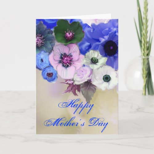 MOTHER'S DAY WHITE BLUE  ROSES AND ANEMONE FLOWERS CARD