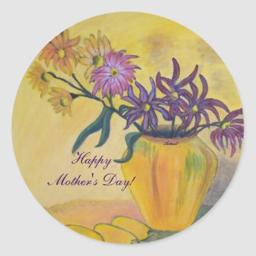 Mother's Day Yellow Vase Flowers Painting Sticker