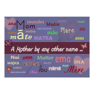 Mothers in Any Language - Word-Art Poster