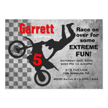 Motocross Dirt Bike Birthday Party Invitation