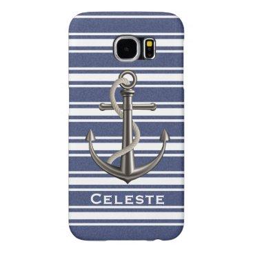Mottled Navy Blue Striped Anchor Samsung Galaxy S6 Case