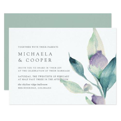 Mountain Meadow   Modern Minimalist Floral Wedding Invitation
