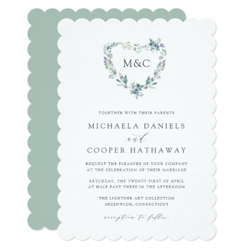 Mountain Meadow Watercolor Heart Monogram Wedding Invitation