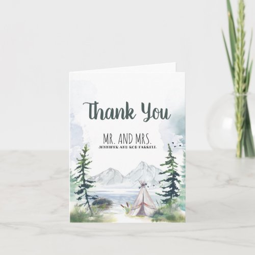 Mountains Woods Camping Wedding Thank You
