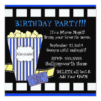 Movie Night With Popcorn and Film Strip in Blue Card