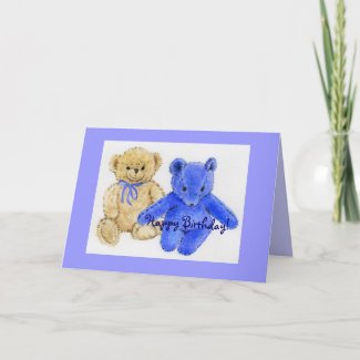 Mr. McCuddles and Blue Bear Happy Birthday Greeting Cards