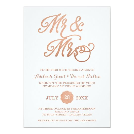 Mr Mrs Faux Copper Wedding Invitation