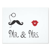 Mr. & Mrs. Mustache & Lips Wedding Invitations