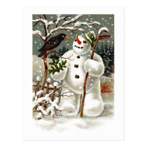 Mr. Snowman and Mr. Crow Postcard