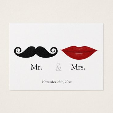 Mr. & the Mrs (Lips and the Stache) Wedding RSVP Business Card