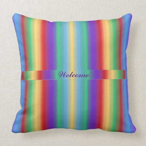 Multi Color Stripes with Ribbon Pillow