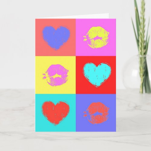 Multicolor Hearts and Kisses Holiday Card