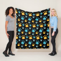 Multicolored Cat Paw Prints Pattern Fleece Blanket