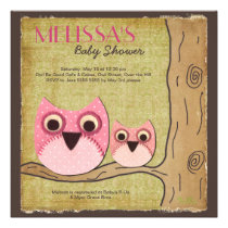 Mummy & Baby Owl Baby Shower Square Invitation