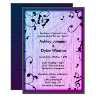 Music, Butterfly, Leaves, Blue & Purple Wedding Card